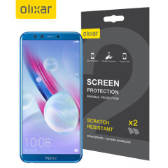 Keep your Huawei Honor 9 Lite screen in pristine condition with this Olixar scratch-resistant screen protector 2-in-1 pack.
