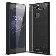 Flexibelt robust hölje med en slät kolfiber och borstad metallkonstruktion, Olixar Sentinel-skalet i svart, håller din Sony Xperia XA2 skyddad från 360 grader med den extra bonusen av ett härdat glasskärmskyddet.