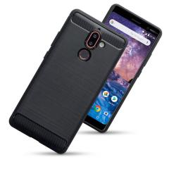 Nokia 7 Plus Carbon Fibre Design Gel Case - Black