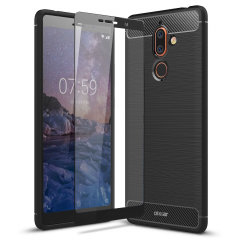 Flexible rugged casing with a premium matte finish non-slip carbon fibre and brushed metal design, the Olixar Sentinel case in black keeps your Nokia 7 Plus protected from 360 degrees with the added bonus of a tempered glass screen protector.