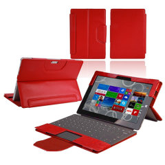 Keep your Microsoft Surface Pro 2017 protected from damage with this stylish leather-style folio case in red from Navitech. Features a built-in kick stand, a special holder for a Pen, full access to ports. This really is a lovely case for the Surface Pro.