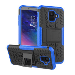 Protect your Samsung Galaxy A6 2018 from bumps and scrapes with this blue ArmourDillo case from Olixar. Comprised of an inner TPU case and an outer impact-resistant exoskeleton, with a built-in viewing stand.