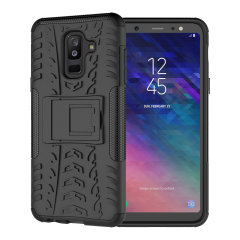 Protect your Samsung Galaxy A6 Plus 2018 from bumps and scrapes with this black ArmourDillo case from Olixar. Comprised of an inner TPU case and an outer impact-resistant exoskeleton, with a built-in viewing stand.