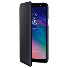 Protect your Samsung Galaxy A6 Plus 2018's back, sides and screen from harm while keeping your most vital cards close to hand with the official flip wallet cover in black from Samsung.