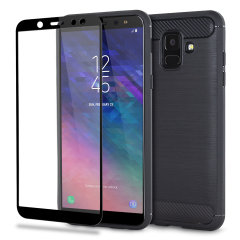 Flexible rugged casing with a premium matte finish non-slip carbon fibre and brushed metal design, the Olixar Sentinel case in black keeps your Samsung Galaxy A6 protected from 360 degrees with the added bonus of a tempered glass screen protector.