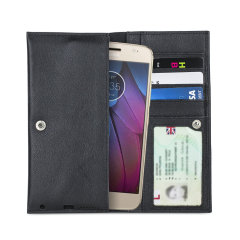 Crafted from premium quality genuine leather, with precision stitching and stud closure, and featuring a luxurious soft lining, document pockets and card slots, the Primo Wallet for the Motorola Moto G5S will protect your phone in style.