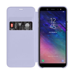 Protect your Samsung Galaxy A6 2018's back, sides and screen from harm while keeping your most vital cards close to hand with the official flip wallet cover in purple from Samsung.