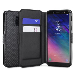 Protect your Samsung Galaxy A6 2018 with this durable and stylish black carbon leather-style wallet case from Olixar. What's more, this case transforms into a handy stand to view media, putting you in a comfortable position at all times.