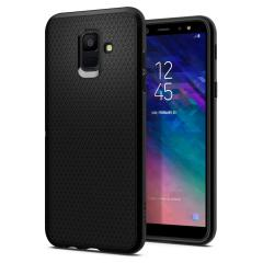 The Spigen Liquid Air in black is a TPU lightweight protective case. Spigen's flexible and elastic material reduces the thickness of the case while providing shock absorption and a comfortable grip for your shiny new Samsung Galaxy A6 2018.