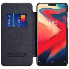Nillkin Qin Series Genuine Leather OnePlus 6 Wallet Case - Black