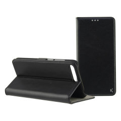 This wallet folio stand case by KSIX in a black leather-style houses the Huawei Y6 2018 within a form fitting inner hard shell and encloses it with a sophisticated cover, that folds into a media viewing stand for watching movies.