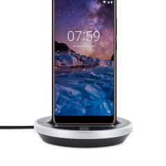 Synchronise and charge your Nokia 7 Plus with this stylish and case compatible desktop dock which also acts as a multimedia stand. Supports USB-C (USB Type-C).