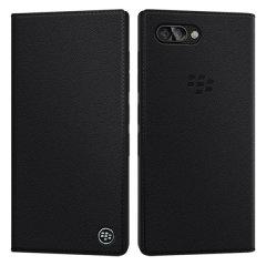 Official BlackBerry KEY2 Genuine Leather Flip Wallet Case - Black