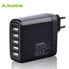 Ideal for use by your desk,bedside or whilst on travel, this Avantree mains charger in black includes 5 USB smart ports totalling an impressive 9.6 Amps output for recharging your mobile or even power hungry tablet devices quickly. EU mains plug.