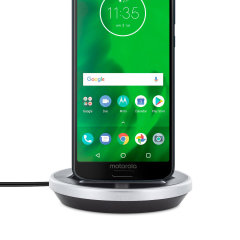 Synchronise and charge your Motorola Moto G6 with this stylish and case compatible desktop dock which also acts as a multimedia stand. Supports USB-C (USB Type-C).