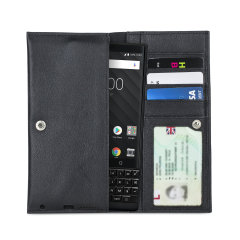 Olixar Primo Genuine Leather BlackBerry KEY2 Pouch Wallet Case - Black