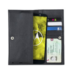 Crafted from premium quality genuine leather, with precision stitching and stud closure, and featuring a luxurious soft lining, document pockets and card slots, the Primo Wallet for the Motorola Moto G6 Play will protect your phone in style.