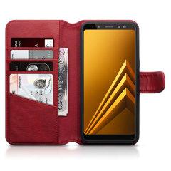 Encase Samsung Galaxy A8 2018 Genuine Leather Wallet Case - Red