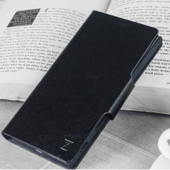 Protect your BlackBerry Key2 with this durable and stylish black leather-style wallet case by Olixar. What's more, this case transforms into a handy stand to view media.