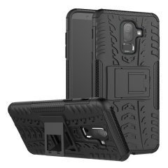 Protect your Samsung Galaxy J8 from bumps and scrapes with this black ArmourDillo case. Comprised of an inner TPU case and an outer impact-resistant exoskeleton, the Armourdillo not only offers sturdy and robust protection, but also a sleek modern styling