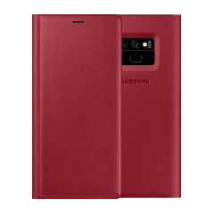 This Official Samsung Leather Wallet Cover in red is the perfect way to keep your Galaxy Note 9 smartphone protected whilst keeping yourself updated with your notifications.