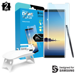 The Dome Glass screen protector twin pack for Note 8 from Whitestone uses a proprietary UV adhesive installation to ensure a total and perfect fit for your device. Featuring 9H hardness for absolute protection, as well as 100% touch sensitivity retention