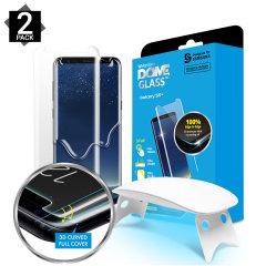 De Dome Glass-schermbeschermer voor de Samsung Galaxy S9 Plus van Whitestone maakt gebruik van een gepatenteerde UV-lijminstallatie om een totale en perfecte pasvorm voor uw apparaat te garanderen. Ook met 9H-hardheid voor absolute bescherming, evenals 100% aanraakgevoeligheid.