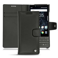 Keep your Blackberry Key2 well protected from damage with this high quality, beautifully hand-crafted genuine black leather wallet case from Noreve. The perfect blend of premium style and functionality.