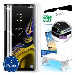 De Dome Glass-schermbeschermer voor de Samsung Galaxy Note 9 van Whitestone maakt gebruik van een gepatenteerde UV-lijminstallatie om een totale en perfecte pasvorm voor uw apparaat te garanderen. Ook met 9H-hardheid voor absolute bescherming, evenals 100% aanraakgevoeligheid.