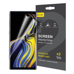 Gardez l'écran de votre Samsung Galaxy Note 9 propre grâce à ce pack de 2 Protections d'écran de chez Olixar résistant aux éraflures.