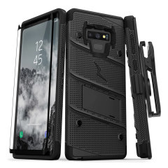 Equip your Samsung Galaxy Note 9 with military grade protection and superb functionality with the ultra-rugged Bolt case in black from Zizo. Coming complete with a tempered glass screen protector, handy belt clip and integrated kickstand.