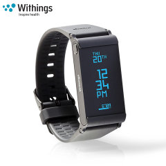 The Withings Pulse Ox in black, monitors your heart rate, captures steps, burned calories, elevation climbed and distance traveled. Syncing to your smartphone or tablet, you will discover your data put into perspective.