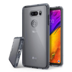 Protect the back and sides your LG V35 with this incredibly durable and smoke black backed Fusion Case by Ringke.