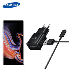 A genuine Samsung EU Adaptive Fast mains charger wall plug with USB-C cable in black for the Samsung Galaxy Note 9. This official Retail Packed charger and cable can charge your smartphone at rapid rates so you are always ready for action.