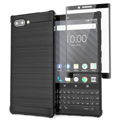 Flexible rugged casing with a premium matte finish non-slip carbon fibre and brushed metal design, the Olixar Sentinel case in black keeps your BlackBerry Key2 protected from 360 degrees with the added bonus of a tempered glass screen protector.