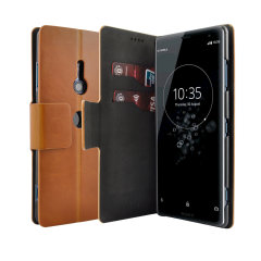 The Olixar leather-style Sony Xperia XZ3 Wallet Stand Case in tan provides enclosed protection and can also be used to hold your credit cards. The case also transforms into a viewing stand for added convenience.