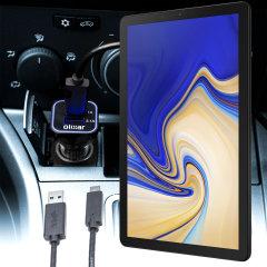 Houd je Samsung Galaxy Tab S4 volledig opgeladen op de weg met deze compatibele Olixar krachtige dubbele USB 3.1A autolader met een meegeleverde hoogwaardige USB naar USB-C oplaadkabel.