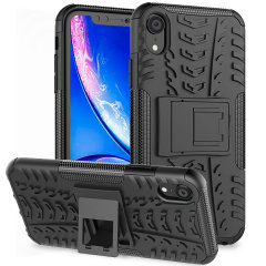 Protect your Apple iPhone XR from bumps and scrapes with this black ArmourDillo case from Olixar. Comprised of an inner TPU case and an outer impact-resistant exoskeleton, with a built-in viewing stand.