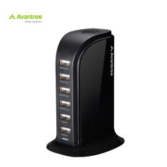 The Avantree PowerTower Desktop EU USB Charger in black is a perfect solution for charging multiple devices at home or at the office. It can fast charge 6 devices simultaneously with its total 8A high output, and will keep your desk or table top tidy.