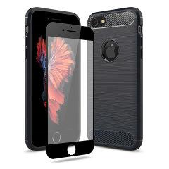 Flexibelt robust hölje med en slät kolfiber och borstad metallkonstruktion, Olixar Sentinel-skalet i svart, håller din iPhone 6S / 6 skyddad från 360 grader med den extra bonusen av ett härdat glasskärmskyddet med krökta kanter.