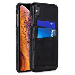 Designed for the iPhone XS Max, this black executive leather-style case from Olixar provides a perfect fit and durable protection against scratches, knocks and drops with the added convenience of 2 RFID protected credit card-sized slots.