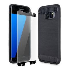 Flexibelt robust hölje med en slät kolfiber och borstad metallkonstruktion, Olixar Sentinel-skalet i svart, håller din Samsung Galaxy S7 Edge skyddad från 360 grader med den extra bonusen av ett härdat glasskärmskyddet med krökta kanter.