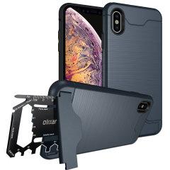 Bereid je iPhone XS Max voor op buitenleven met de robuuste X-Ranger-hoes. Met een handige standaard en een veilig vak voor de meegeleverde multitool - of de kaart van je keuze - ben je overal op voorbereid.