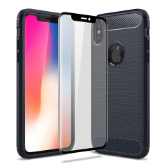 Flexible rugged casing with a premium matte finish non-slip carbon fibre and brushed metal design, the Olixar Sentinel case in blue keeps your iPhone X protected from 360 degrees with the added bonus of a tempered glass screen protector