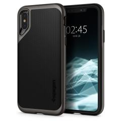 The Spigen Neo Hybrid in gunmetal colour is the new leader in lightweight protective cases. Spigen's new Air Cushion Technology reduces the thickness of the case while providing optimal corner protection for your iPhone XS.