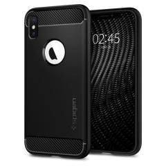 Treffen Sie die neu gestaltete robuste Hülle für das iPhone XS aus flexiblen, robusten TPU und mit einer mechanischen Konstruktion, einschließlich einer Kohlenstofffaserbeschaffenheit, die Ihr Handy sicher und schlank hält bon Spigen.