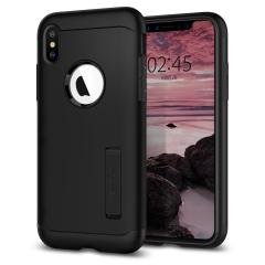 The Slim Armor case for the iPhone XS Max in black has shock absorbing technology specifically incorporated to protect the device from impacts from any angle.
