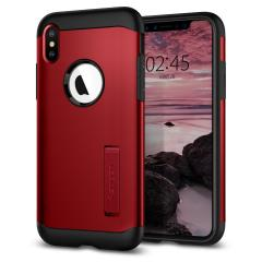 The Slim Armor case for the iPhone XS Max in red has shock absorbing technology specifically incorporated to protect the device from impacts from any angle.