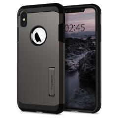 The Spigen Tough Armor in gunmetal is the new leader in lightweight protective cases. The new Air Cushion Technology corners reduce the thickness of the case while providing optimal protection for your iPhone XS Max.
