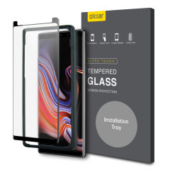 Keep your Samsung Galaxy Note 9's screen in pristine condition with this Olixar Tempered Glass screen protector, designed for full coverage of your phone's screen. This design leaves space for a case and comes with an install tool for perfect alignment.